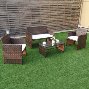 4 PC Rattan Patio Furniture Set Garden Lawn Sofa Cushioned