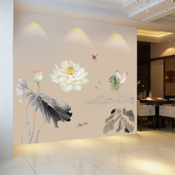 Chinese style Ink lotus Wall Sticker Home  Sofa/TV Background