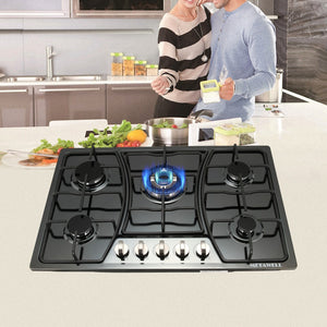 "METAWELL 30"" Black Titanium Stainless Steel 5 Burner Built-In Stoves"