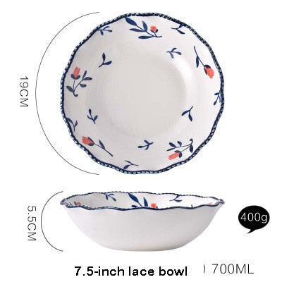 EECAMAIL Nordic Style  Red Rose Ceramic Tableware Hand Painted