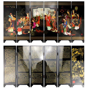 Decoration Chinese Style Ornaments Antique Lacquer Mini Folding Screen Room