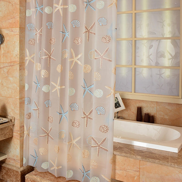 Shower Curtain Starfish Partition Fresh Seaside Style Waterproof Mildew Bathroom Shower Room