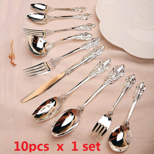 10pcs/set Western Luxury Silver Cutlery set Steak Dinner set Retro