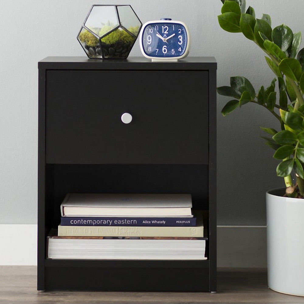 Accent Table Night Stand Set Black Table Bedside
