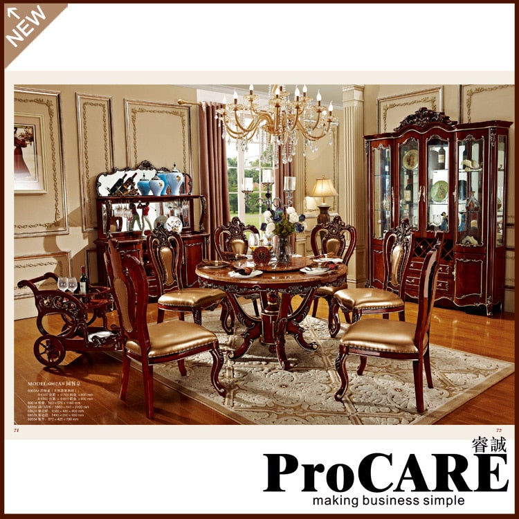 Dining room furniture wooden carving dinning kitchen table chair sets