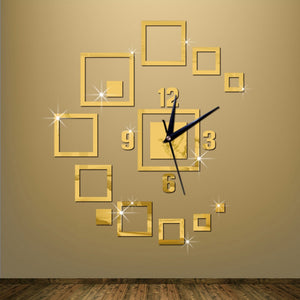 Luxury Gold Quartz Wall Clock Sticker Silver Mirror Large Decorative Wall Clock