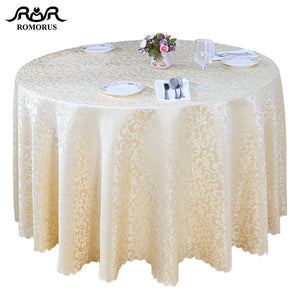ROMORUS Luxury Round Tablecloth Gold White Table Covers