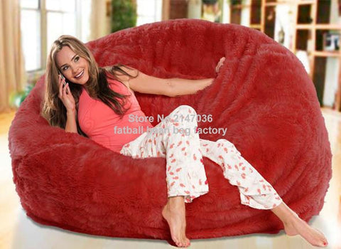 Red oversize living room bean bag furniture,