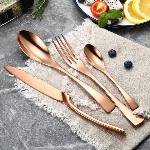 24Pcs/set Stainless Steel Rose Gold Cutlery Set Dinnerware Tableware