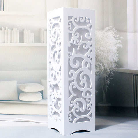 Ivory White Wood Plastic Plate LED Table Lamp,