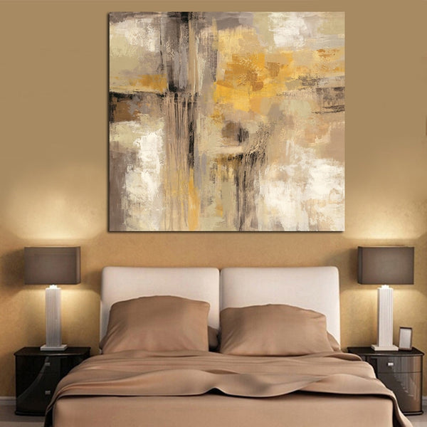 Yellow Gray Abstract Oil painting on Canvas Scandinavian