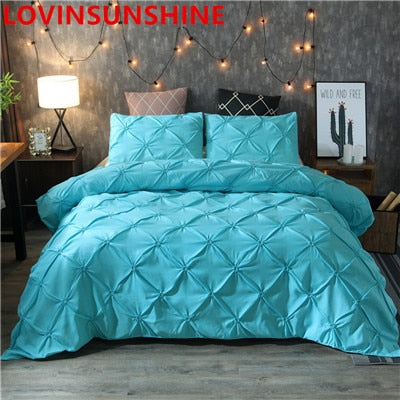 Luxury White Black Duvet Cover Pinch Pleat Brief Bedding Set Queen King Size 3pcs Bed Linings Pillowcases Comforter Cover Set