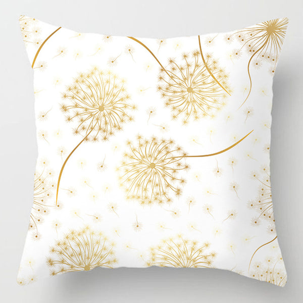 Decorative Gold Plant Flowers Leaves Pillow Covers 45x45cm