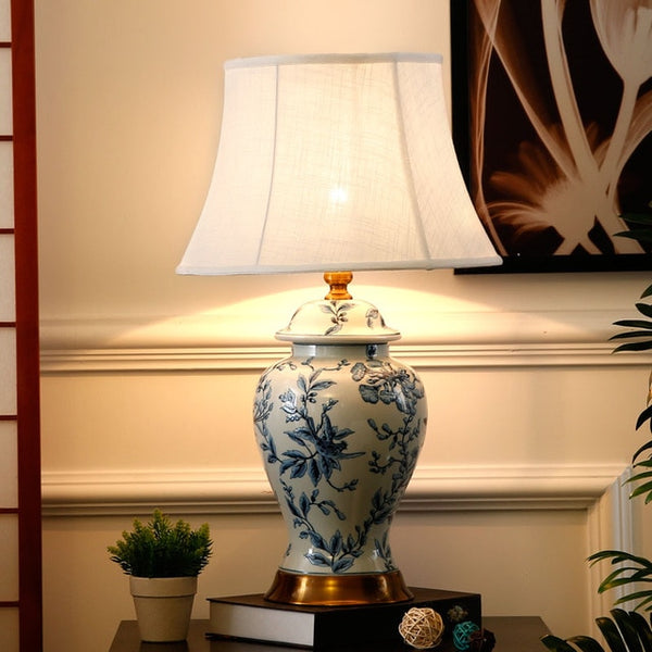 High temperature firing blue and white ceramic table lamps