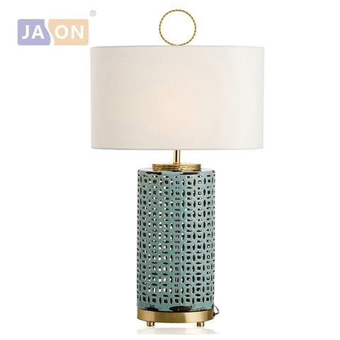 Chinese Ceramic Copper Fabric Blue LED Light.Table