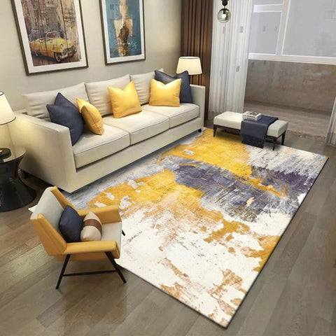 Artistic Yellow Grey Painting Decorative Carpet Area Rug