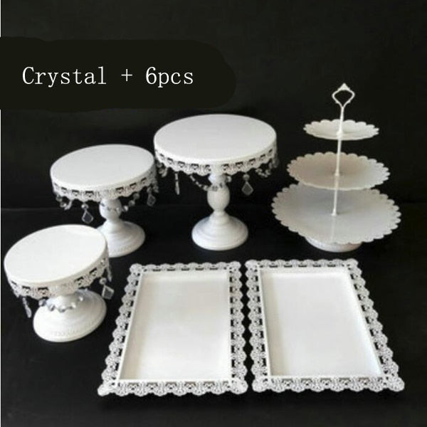 Elegant Plates Set White Dessert Fruit Cupcake Cake Stand Plate Fruits Tray Wedding Party Dishes & Plates