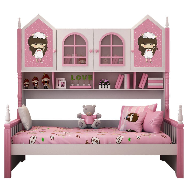 Pink color Princess kids bedroom furnitures