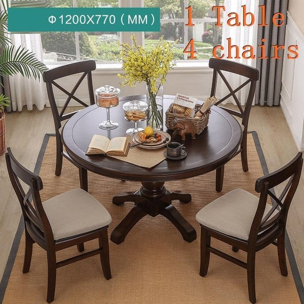 Kitchen Room Dinning Set Retro Wood Round Table