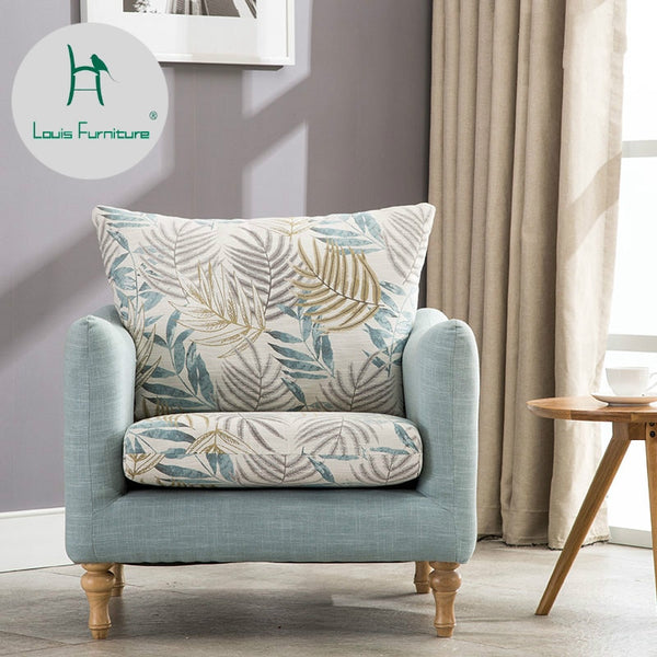 Louis Fashion Nordic Single Chair Mediterranean American Fabric Can Be Disassembled Washed