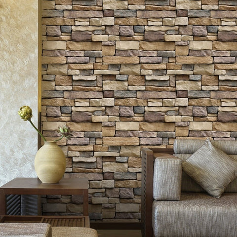 1PC Vintage Stone Brick Wallpaper 3D Brick Stone Wall Sticker Rustic