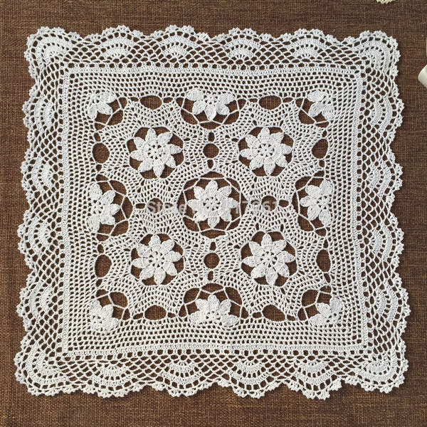 cotton crochet lace tablecloth for wedding square dinning table