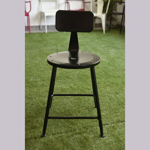 Industrial Chic Metal Round Seat Adjustable Height Bar Stool with Curve Backrest