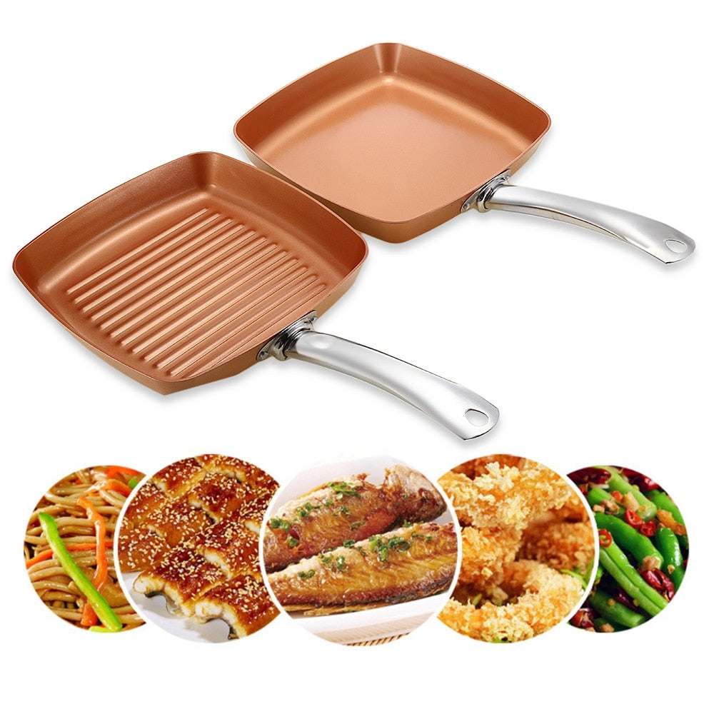 2pcs Non-stick Copper Frying Pans Hard Square Griddle Skillets Ceramic-based  Cookware