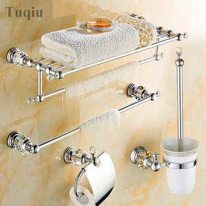 Modern Clear Crystal Bathroom Accessories Sets Silver Polished Chrome