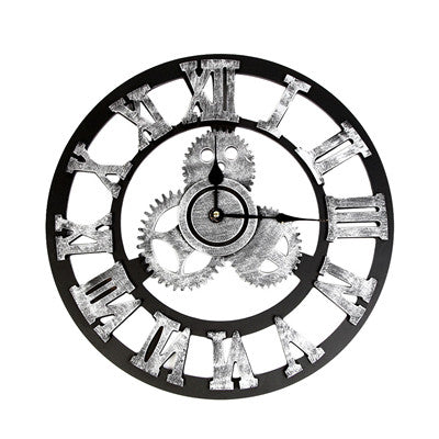 Wall clock Industrial Style Vintage Clock European Steampunk Gear Wall Home Decoration