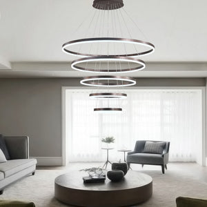 Rings Modern Led pendant lights Lustre With Remote Control hanglamp