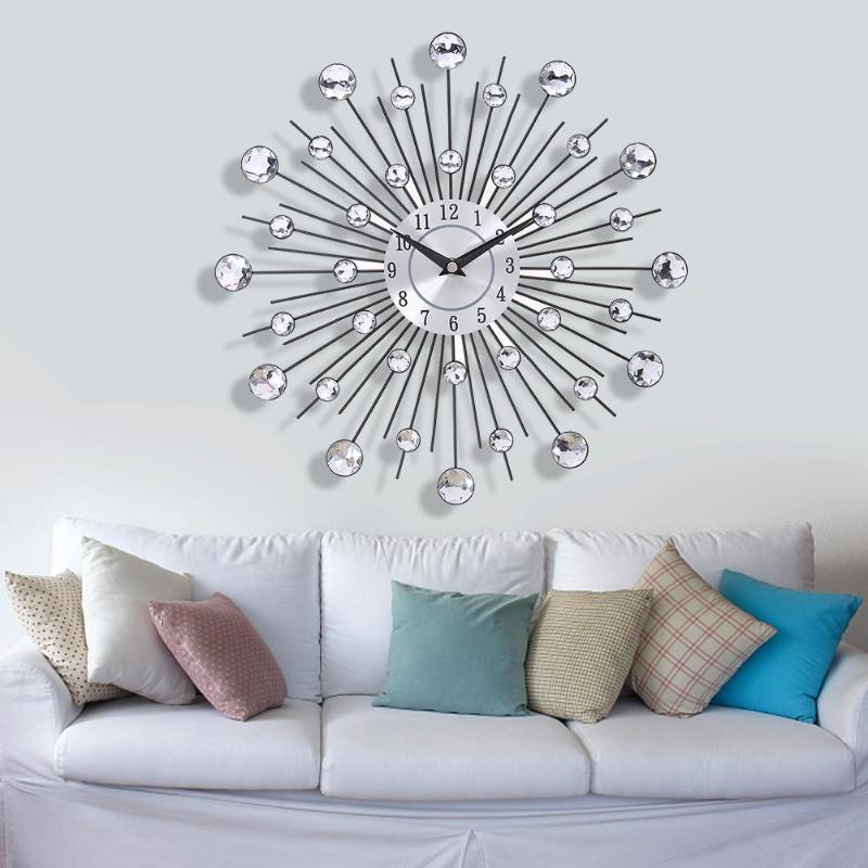 33cm Vintage Metal Crystal Sunburst Wall Clock Luxury Diamond Large Morden Wall Clock Da Parete Clock Design Home Decor