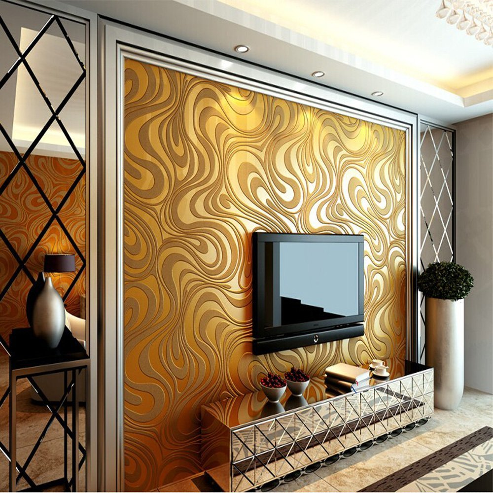 Q QIHANG 3D Abstract Curve Modern Luxury Flocking Striped Wallpaper Gold