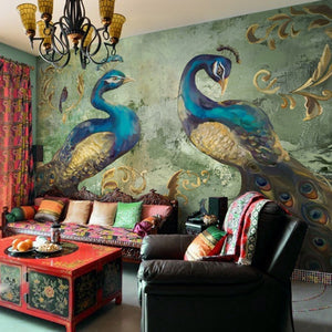 European Style Classical Peacock Photo Mural Wallpaper