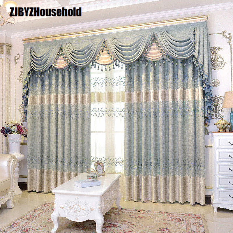 Athena Pure Korean Garden Chenille Embroidery Europe Style Luxury Curtains