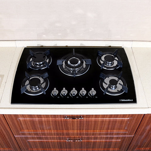 "30"" Black Glass LPG NG Built-in Kitchen 5 Burner Oven Gas Cooktop Stove"