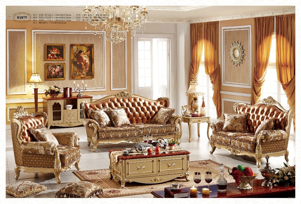 French style living room sofa furniture grain leather