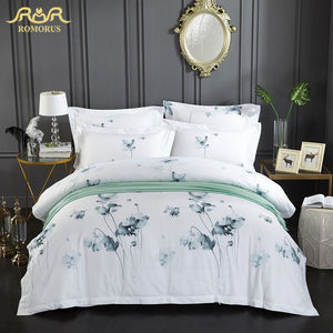ROMORUS Ink Floral Bedding Set Full Queen King Size 3/4 pcs 100% Soft Cotton Luxury