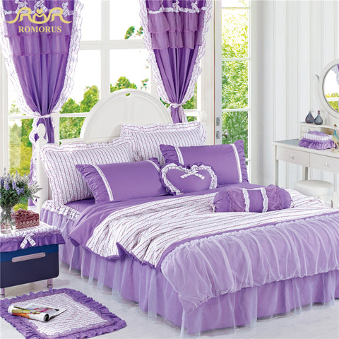 ROMORUS 100% Cotton Beautiful Purple Korean Princess Bedding Set 4 pcs