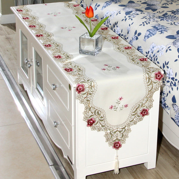 ROMORUS Lace Floral Wedding Table Runners Embroidered Table Runner