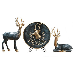 American modern elk statue European resin deer sculpture creative deer head figurine