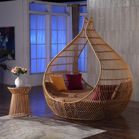 Fine Hand Workmanship Rattan Round Bed for Livingroom Bedroom