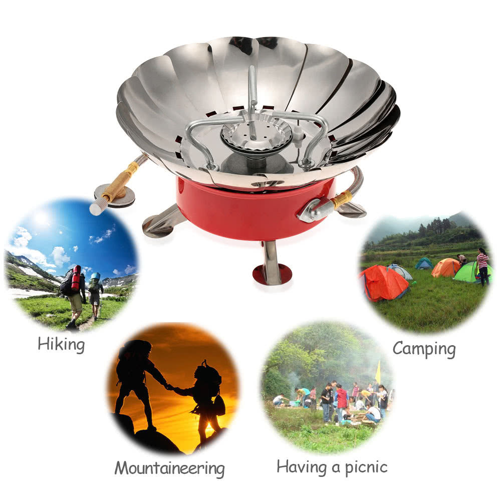 Outdoor Portable Retracted Windproof Camping Backpacking Gas Stove Camping Equipment for Flat Butane Gas Cartridge - Jumpinhike