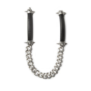 One of a kind spiked curb link choker, genuine European leather and solid sterling silver, approximately 13""