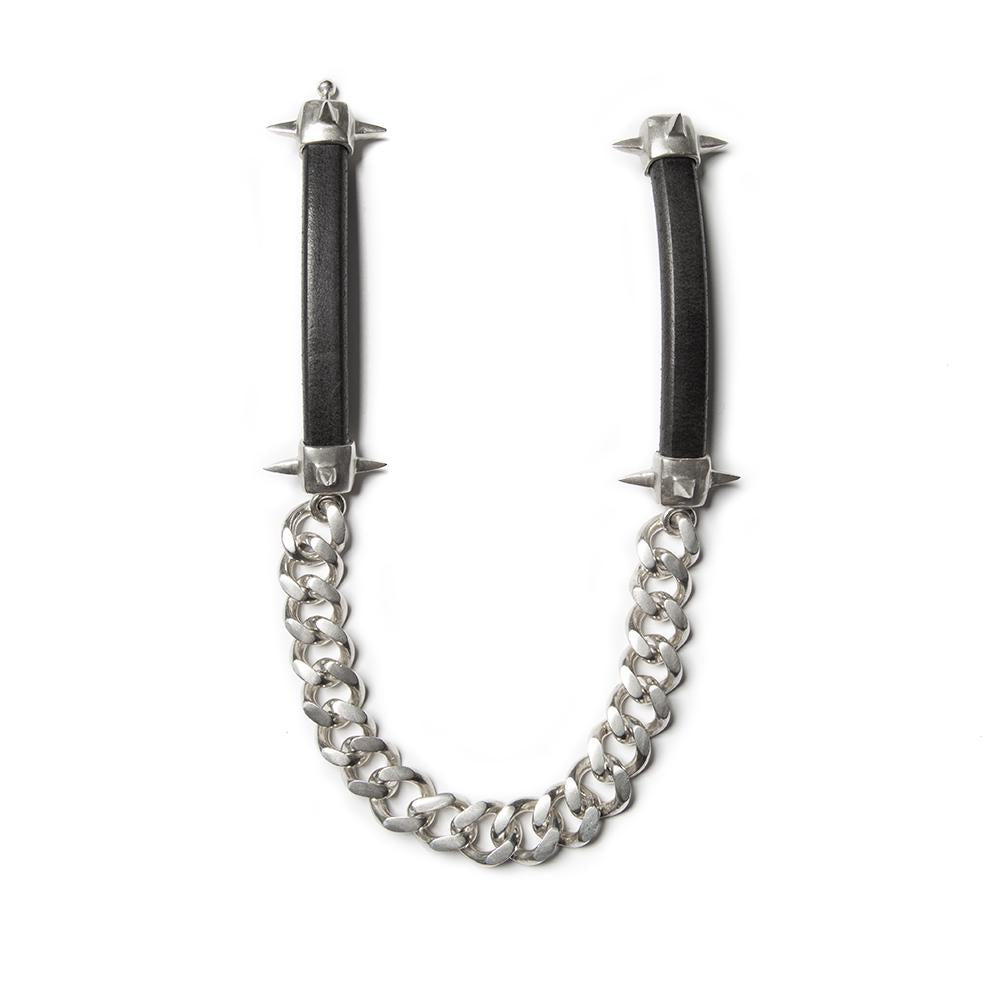 One of a kind spiked curb link choker, genuine European leather and solid sterling silver, approximately 13