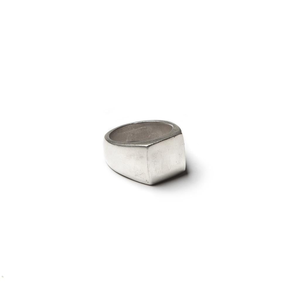 Medium square signet ring, solid sterling silver