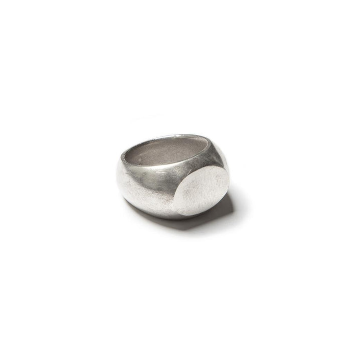Medium round oval signet ring, solid sterling silver