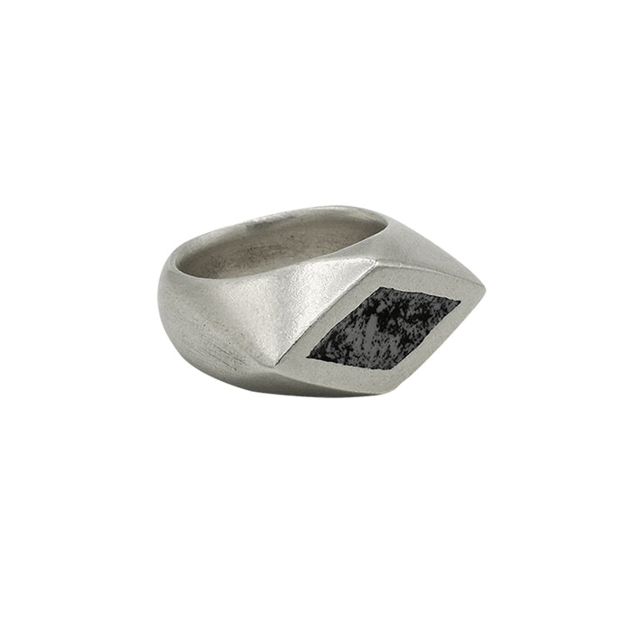 Horizontal diamond signet with enamel detail, solid sterling silver