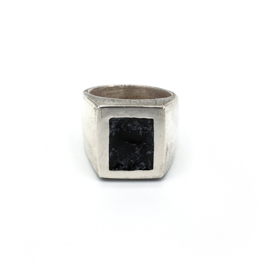 Large signet with black enamel detail, solid sterling silver and enamel