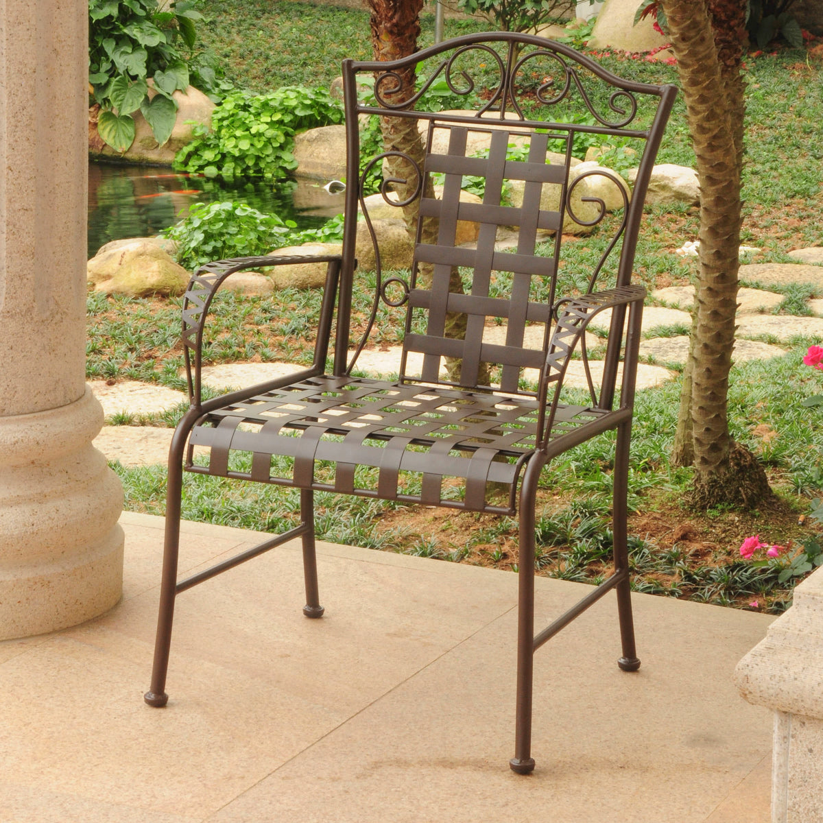 Mandalay Set of Two Iron Chairs Rustic Brown by International Caravan - Swing Chairs Direct